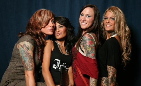 From left: Renee Larsh, Chanty Sok, Sarah Hauk, and Brietanya Anderson at the Boston Tattoo Convention over the weekend.