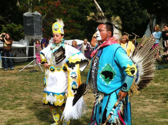 Intertribal dancers Autaquay Peters of the Mashpee Wampanoag Nation and Don Barnaby of the Mi'kmaq Nation led dances at last year's pow-wow in Haverhill.