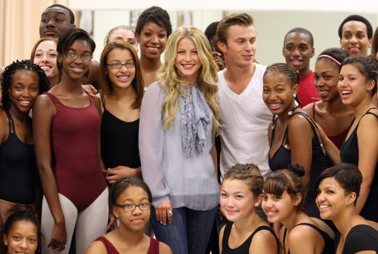 Julianne Hough and Kenny Wormald (center) stopped by a ballet class at the Boston Arts Academy yesterday.