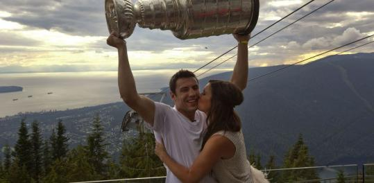 Milan Lucic and girlfriend Brittany Carnegie in Vancouver last month.
