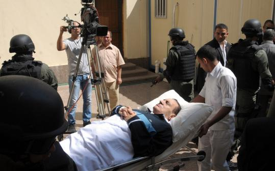 Egypt's former president Hosni Mubarak, 83, returned to court yesterday in his trial on charges in the killing of protesters.