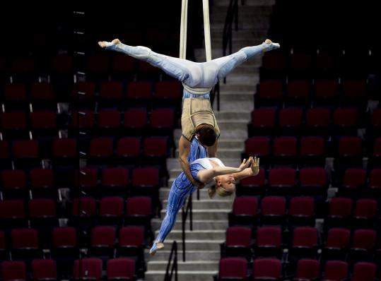 Cirque du Soleil acrobats practice Wednesday at Agganis Arena.