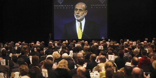 """Fed chairman Ben S. Bernanke warned that policy makers should not """"disregard the fragility of the economic recovery.''"""