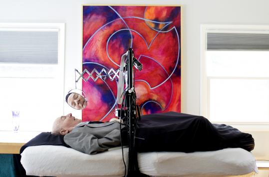 Fred Fay at his Concord home in 2009. Using emerging computer technology, Dr. Fay advocated just as vigorously on behalf of those who could not walk, could not hear, or could not see.