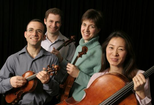 "The purpose of the ""Fragments'' project is ""to help people listen through the ears of a composer, through the ears of a creator,'' says Mark Steinberg (left, with Brentano String Quartet colleagues Misha Amory, Serena Canin, and Nina Lee)."