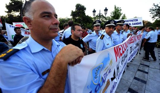 Greek police demonstrated against austerity measures yesterday. Today they will provide security at major union rallies.