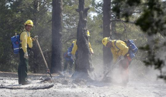A fresh team of firefighters arrived from the Sequoia National Forest in California to help.