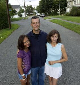 After three years at war, Jerry Saslav returned to his wife, Lori, and their daughter, Erin, in Framingham.