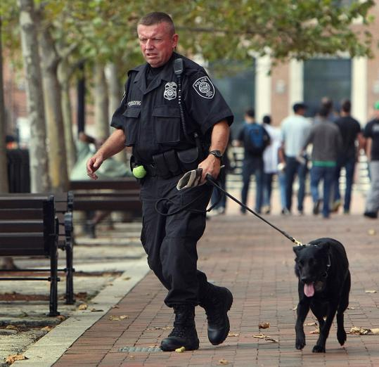 A Federal Protective Service officer patrolled the Joe Moakley Federal Courthouse yesterday with a bomb-sniffing dog.