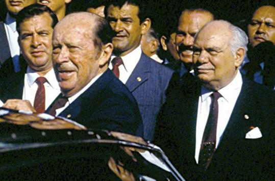 Sabino Montanaro (right) in a 1980s photo with Paraguayan dictator Alfredo Stroessner (left).