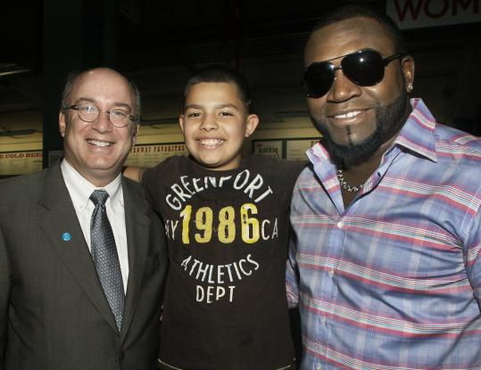 Dr. Peter Slavin, Brian Ruballos of Chelsea, and David Ortiz.