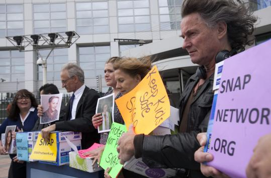 Members of Survivors Network of those Abused by Priests demonstrated outside the International Criminal Court, accusing Catholic leaders of crimes against humanity.
