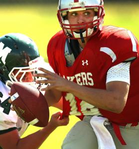 Quarterback Patrick Finn led Silver Lake Regional High School against Minnechaug Regional last weekend.