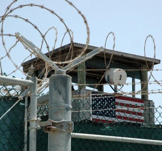 A watch tower looms over the Guantanamo Bay US Naval Base in Cuba.