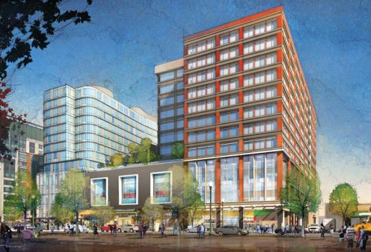 A plan for the Fenway neighborhood includes a brick and glass structure. Developer Steve Samuels envisions a mixed-use building.