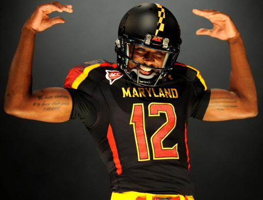 Kevin Dorsey displayed one of the Maryland Terps' 32 uniform combinations before the season began. Sports clothiers like Nike view outfitting college teams as a huge marketing opportunity.