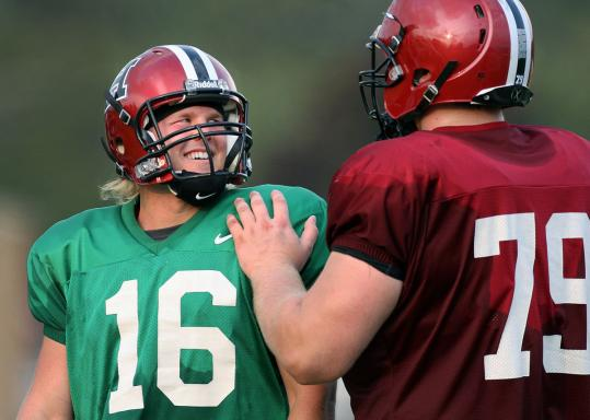Harvard QB Collier Winters (left) played just five games last season because of a groin injury.