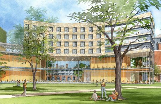 A rendering of Harvard Business School's seven-story, $100 million dormitory and classroom facility.