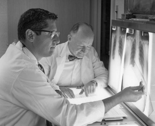 Dr. William Kannel (left), with Dr. Thomas R. Dawber, whom he succeeded as director of the Framingham Heart Study.
