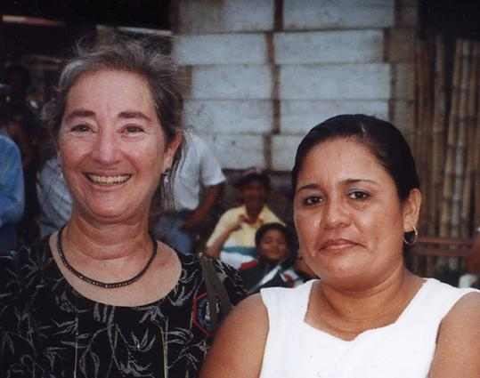 Rosa Elena Bello (right), with Newton resident Margaret Morganroth Gullette at a 2001 event in Nicaragua, will talk about her work empowering women Wednesday at Brandeis University.