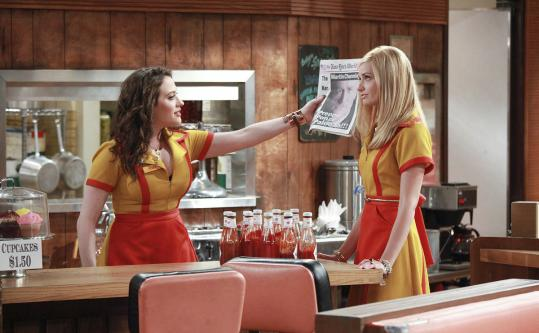 "Kat Dennings (left) and Beth Behrs star in ""2 Broke Girls.''"
