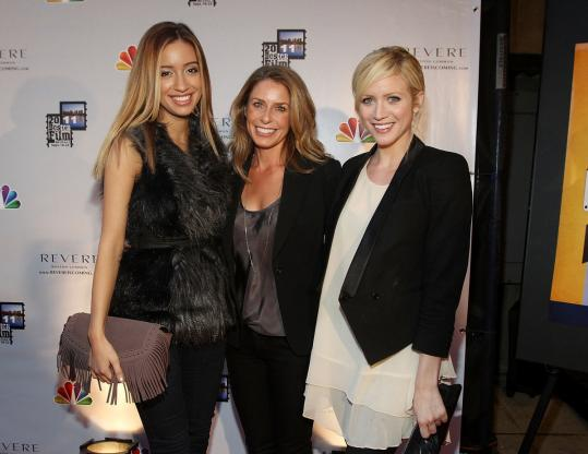 From left: Christian Serratos, director Aimee Lagos, and Brittany Snow at the Stuart Street Playhouse Saturday to promote their movie, '96 Minutes.'