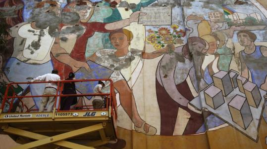 "Specialists say it would cost at least $70,000 to preserve Arnold Belkin's 1972 mural ""Against Domestic Colonialism,'' which adorns a playground wall in New York City."