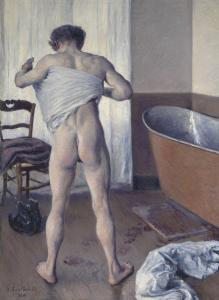 "The painting, ""Man at His Bath,'' is a rare male Impressionist nude."