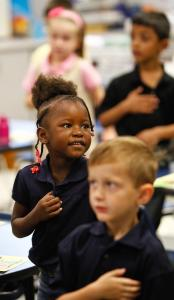 Kindergarteners in Pearland, Texas, recited the Pledge of Allegiance last month.