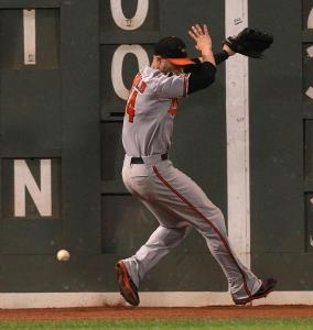 Baltimore&#8217;s Nolan Reimold got more of the wall than the ball, and Dustin Pedroia got a double.