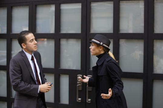 "Kirk Acevedo and Maria Bello on the streets of New York City in the new ""Prime Suspect.''"