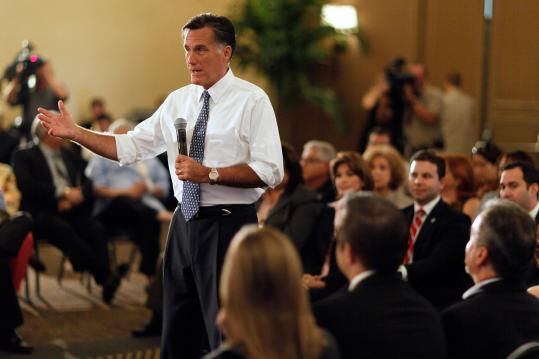 Republican Mitt Romney, in Miami yesterday, said he would gradually raise the retirement age to strengthen Social Security.