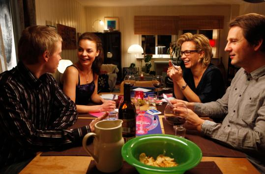 "From left: Joachim Rafaelsen, Agnes Kittelsen, Maibritt Saerens, and Henrik Rafaelsen in ""Happy Happy.''"