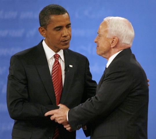 Barack Obama and John McCain after a 2008 debate.