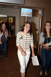 Sophomore Emma Plonowski leads a tour of the building.