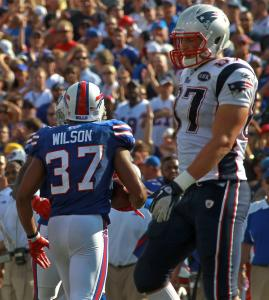 Bills safety George Wilson has what Patriots tight end Rob Gronkowski wanted - the ball, after a fourth-quarter Tom Brady pass intended for Gronkowski.