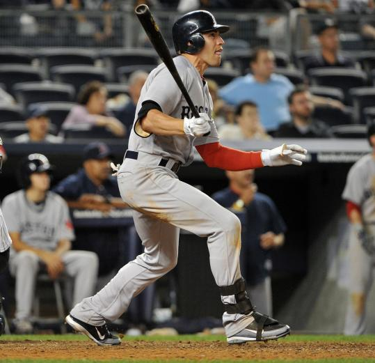 Jacoby Ellsbury's third home run of the day gave the Red Sox a boost heading into Baltimore.