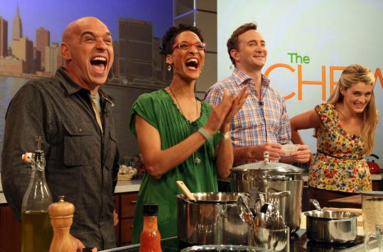 From left: Michael Symon, Carla Hall, Clinton Kelly, and Daphne Oz at a &#8220;Chew&#8217;&#8217; rehearsal.