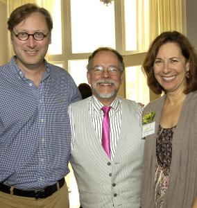 Authors M.T. Anderson (left), Gregory Maguire, and Pam Muñoz Ryan at the Boston Public Library.