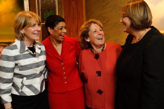 From left: Martha Coakley, Carol Fulp, and Angela Menino with Catherine D'Amato at the Mandarin Oriental Hotel.