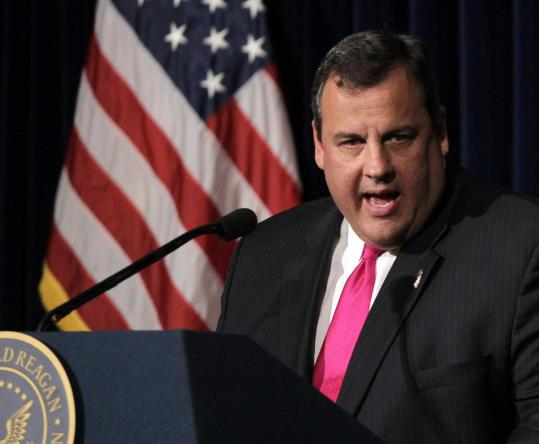 Governor Chris Christie changed the form of his denials about a White House bid during a gathering Tuesday in California.