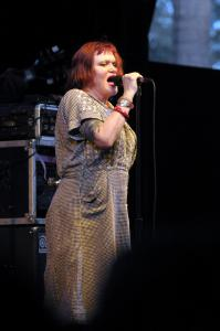 X singer Exene Cervenka (pictured here at Coachella in Indio, Calif., in 2009)