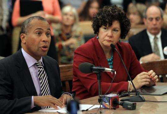 Governor Patrick, with the state&#8217;s public safety secretary, Mary Elizabeth Heffernan, at yesterday&#8217;s judiciary Committee hearing.