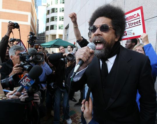 At yesterday's protests, activist Cornel West, a Princeton University professor who formerly taught at Harvard, likened the demonstration to historical movements for freedom and justice.