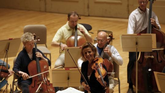 Violinist-conductor Anne-Sophie Mutter, in rehearsal with the Boston Symphony Orchestra last month.