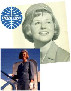 Christel McCarthy of Lexington, top, ?ew with Pan Am from 1965 to 1976. Anne Sweeney, a Providence native, below, posed in front of a Pan Am jetliner in 1968.
