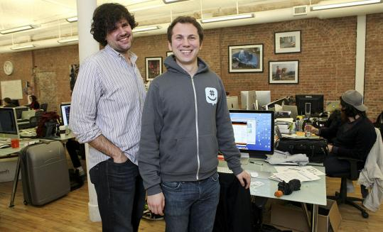 Steve Martocci (left) and Jared Hecht founded GroupMe, a mobile-messaging app that Microsoft is acquiring.