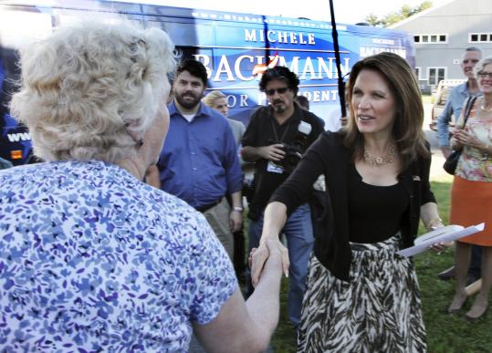 Republican presidential candidate Michele Bachmann, in Moultonborough, held two events in New Hampshire yesterday.