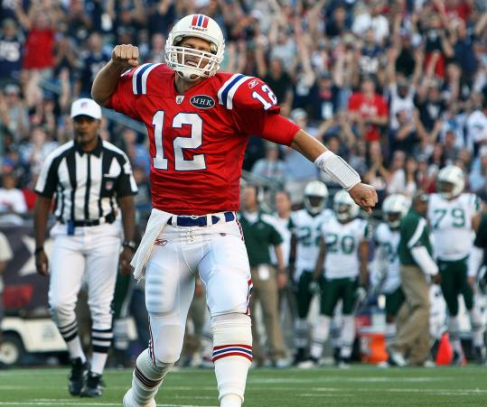 Though he didn't score the Patriots' first TD - BenJarvus Green-Ellis did on a 3-yard run - Tom Brady was still pretty stoked.