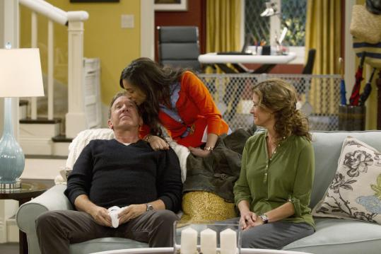 "From left: Tim Allen, Molly Ephraim, and Nancy Travis in ""Last Man Standing,'' which premieres tonight on ABC."